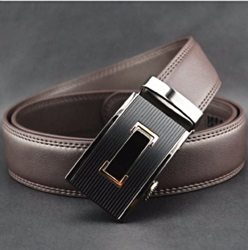 Belt Men's Black Genuine Leather Cowskin  Mens Business Belts Auto Buckle - Zabardo